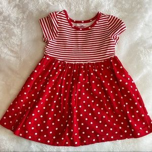 Nannette Red & White Dot and Striped 3T Knit Dress